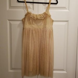 Sexy Flowy Triple Lined Slip Dress(Nude Champagne)
